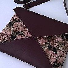 Kabelky - Starorůžové květy s vínovou - kabelka (typ VIII.) - 8145763_