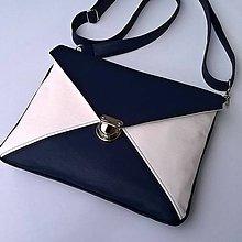 Kabelky - Modrá s bílou - kabelka (typ VIII.) - 8145830_