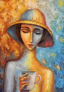 Obrazy - Žena s horkou čokoládou - 8145448_