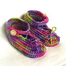 Topánočky - Háčkované papučky dúhové - 8143312_