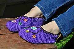 Obuv - vo vlne-fialové papuče - 8145094_