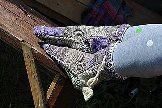 Obuv - vo vlne-fialové,melírované ponožky - 8145444_