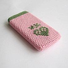Na mobil - Obal na mobil ružový s folk srdiečkom - 8145765_