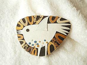 Odznaky/Brošne - Brošňa kožená, vtáča 1 - 8144877_