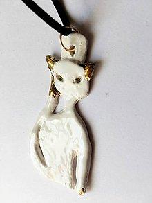 Náhrdelníky - prívesok biela mačička - 8148003_