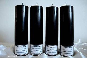 Svietidlá a sviečky - Čierna sviečka parafínová - veľká - 8147270_