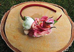 Ozdoby do vlasov - Čelenka ružovo-červená - 8149176_