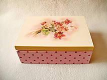 Krabičky - Čajová krabička Kvietky a bodky - 8148312_