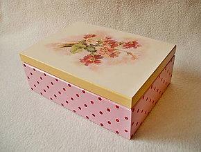 Krabičky - Čajová krabička Kvietky a bodky - 8148318_