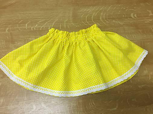 Detská suknička - žltá bodočka