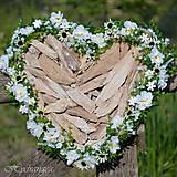 Dekorácie - Srdce prírodné biele - 8149363_