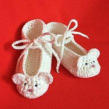 Topánočky - Háčkované papučky zvieratko myška - 8147433_