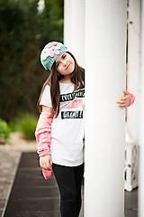 Detské čiapky - Petrolejová baretka a šatka - 8147166_