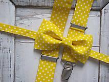 Detské doplnky - Detský motýlik a traky - žltá bodka - 8151288_
