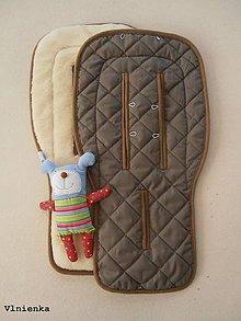 Textil - MERINO podložka do kočíka BUGABOO s ozdobným prešitím ELEGANT KHAKI camel - 8153036_
