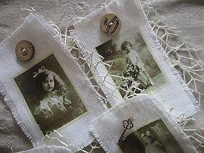 Dekorácie - Textilné visačky Vintage - 8151149_