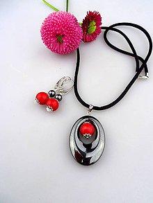 Sady šperkov - prívesok náušnice hematit koral striebro - 8151311_