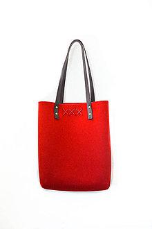 Kabelky - Purity... deep red... 100% prírodná... Merino & koža... XXX - 8152301_