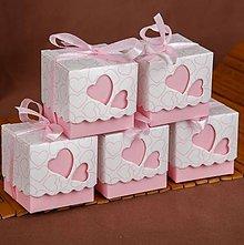 Obalový materiál - Ozdobné krabičky so srdiečkami ružové - 8152988_