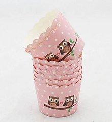 Obalový materiál - Ozdobné košíčky so sovičkami ružové - 8153032_