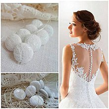 Materiál ručne robený - buttonky/gombíky na radové zapínanie svadobných šiat 13mm - 8150957_