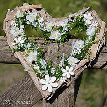 Dekorácie - Srdce prírodné biele - 8150123_