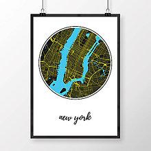 Obrazy - NEW YORK, okrúhly, čierny - 8151785_