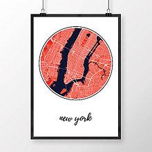 Obrazy - NEW YORK, okrúhly, červený - 8152139_