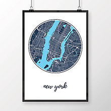 Obrazy - NEW YORK, okrúhly, tmavomodrý - 8152169_