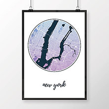 Obrazy - NEW YORK, okrúhly, modro-fialový - 8152237_