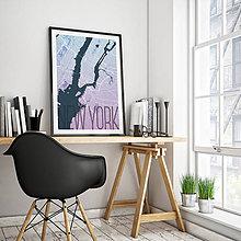 Obrazy - NEW YORK, elegantný, modro-fialový - 8152243_