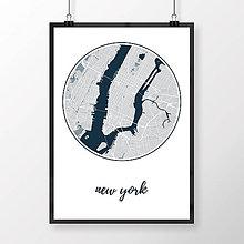 Obrazy - NEW YORK, okrúhly, svetlomodrý - 8152264_