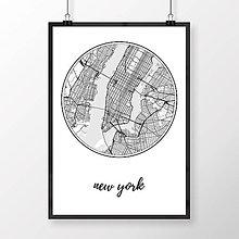 Obrazy - NEW YORK, okrúhly, biely - 8152290_