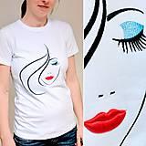 Tričká - Vyšívané dámske tričko MISS, krátky rukáv - 8150881_