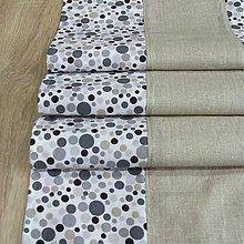 Úžitkový textil - Sivo béžová geometria - stredový obrus 120x37 - 8152419_