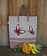 - Nákupná taška - motýliky (s rúčkami dlhými cca 60 cm) - 8151469_