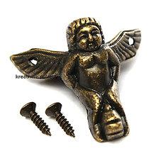 Polotovary - Kovová nožička anjel - 8149684_