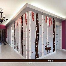 Dekorácie - (3806n) Nálepka na stenu - Stromoradie s jeleňmi - 8154339_