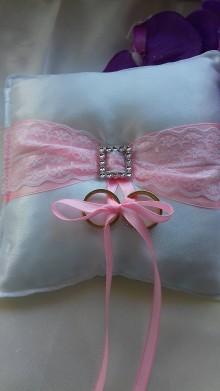 Úžitkový textil - svadobný vankúšik pod obrúčky - 8155770_