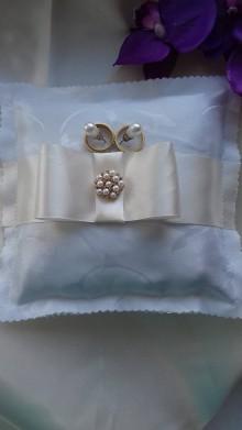 Úžitkový textil - svadobný vankúšik pod obrúčky - 8155870_