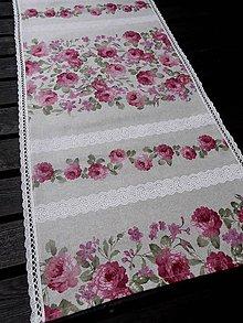 Úžitkový textil - STŘEDOVÝ BĚHOUN .. růžové květy - 8153723_