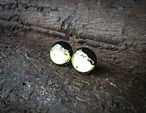 Náušnice - Zlato-čierne kruhy 12 mm - 8155910_