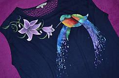Tričká - ručne malované tričko s kolibríkom - 8154857_