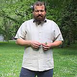Oblečenie - Ľanová košeľa Leslav prírodná krátky rukáv - 8156183_
