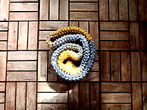 Rukavice - Samé pásiky sivo-žlté - 8158490_