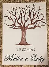 Darčeky pre svadobčanov - Svadobný strom na odtlačky prstov na želanie - 8156716_