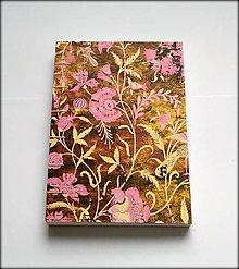 Papiernictvo - Ručne šitý zápisník/denník/diár/notes Pink garden A5 - 8157571_