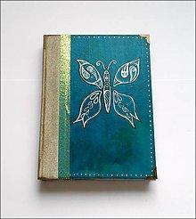 Papiernictvo - Ručne šitý kreslený diár/denník/notes/zápisník Vintage motýľ (A5) - 8157642_