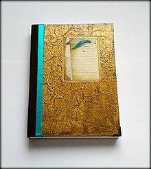 Papiernictvo - Ručne šitý diár/notes/denník/zápisník ,,Golden Antique