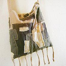 Kabelky - Ľanová boho boro taška - 8160358_